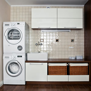 a washer and dryer in a laundry room
