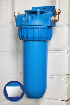 a water treatment filter - with Iowa icon