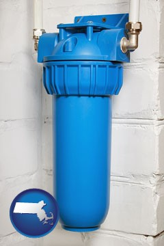 a water treatment filter - with Massachusetts icon