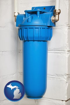a water treatment filter - with Michigan icon