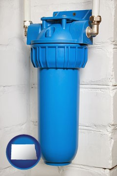 a water treatment filter - with North Dakota icon