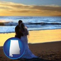 alabama map icon and a beach wedding at sunset