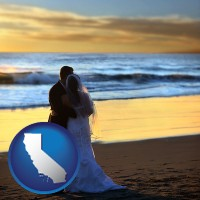 california map icon and a beach wedding at sunset