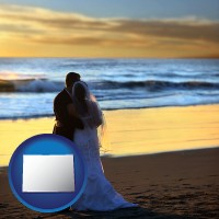 colorado a beach wedding at sunset