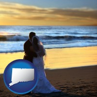 connecticut map icon and a beach wedding at sunset