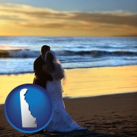 delaware a beach wedding at sunset