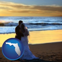florida map icon and a beach wedding at sunset
