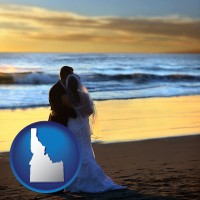 idaho a beach wedding at sunset