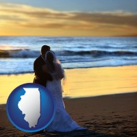 illinois map icon and a beach wedding at sunset