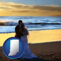 indiana map icon and a beach wedding at sunset