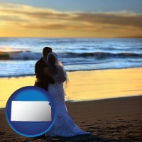 kansas map icon and a beach wedding at sunset