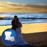 louisiana a beach wedding at sunset