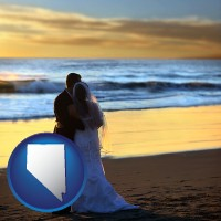 nevada a beach wedding at sunset
