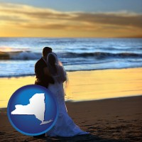 new-york map icon and a beach wedding at sunset