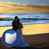 ohio map icon and a beach wedding at sunset