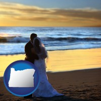 oregon a beach wedding at sunset