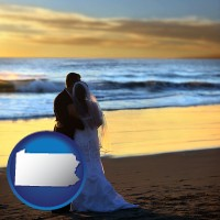 pennsylvania a beach wedding at sunset