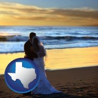 texas map icon and a beach wedding at sunset