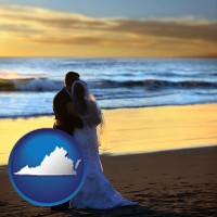virginia a beach wedding at sunset