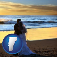 vermont map icon and a beach wedding at sunset