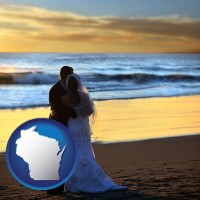 wisconsin map icon and a beach wedding at sunset