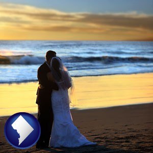 a beach wedding at sunset - with Washington, DC icon