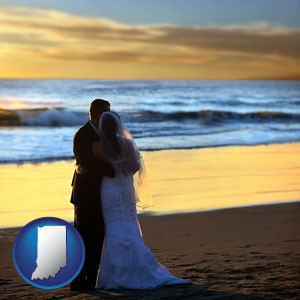 a beach wedding at sunset - with Indiana icon