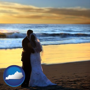 a beach wedding at sunset - with Kentucky icon