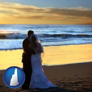 a beach wedding at sunset - with New Hampshire icon