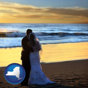 a beach wedding at sunset - with New York icon