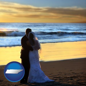 a beach wedding at sunset - with Tennessee icon
