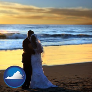 a beach wedding at sunset - with Virginia icon