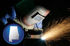 alabama map icon and a welder using welding equipment