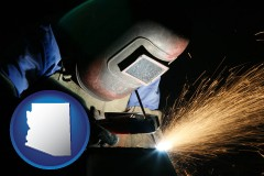 arizona map icon and a welder using welding equipment