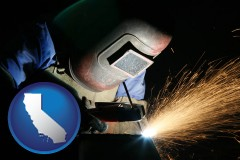 california map icon and a welder using welding equipment