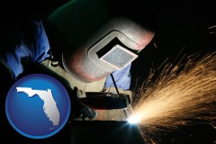 florida map icon and a welder using welding equipment