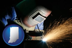 indiana map icon and a welder using welding equipment