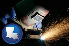 louisiana map icon and a welder using welding equipment