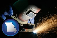 missouri map icon and a welder using welding equipment
