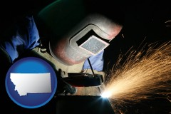 montana map icon and a welder using welding equipment