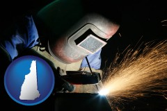 new-hampshire map icon and a welder using welding equipment