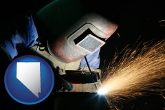 nevada map icon and a welder using welding equipment