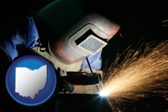 ohio map icon and a welder using welding equipment