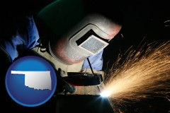 oklahoma map icon and a welder using welding equipment
