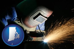 rhode-island map icon and a welder using welding equipment