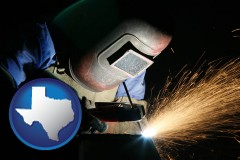 texas map icon and a welder using welding equipment