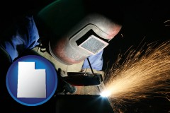 utah map icon and a welder using welding equipment