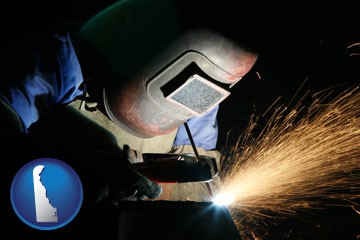 a welder using welding equipment - with Delaware icon