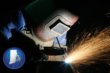 a welder using welding equipment - with Rhode Island icon