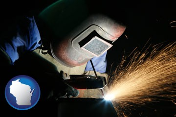 a welder using welding equipment - with Wisconsin icon